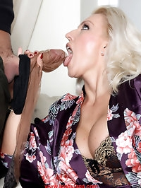 Lana likes to put a nylon covered cock deep in her mouth