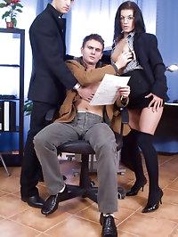 Naughty secretary sucks two bisexual cocks