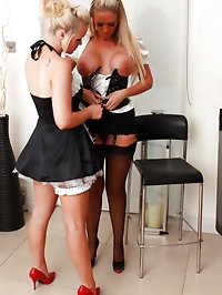 Sexy blonde maid orders Lucy Zara to clean her big black..