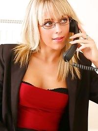 Blonde beauty Charlotte J looks delightful as she..