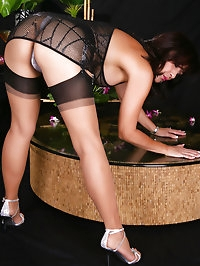 Amazing and cute momy in black stockings