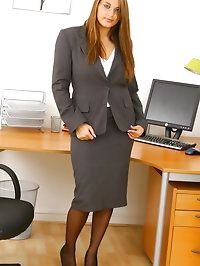 Jenkins peels away her secretary suit after a hard days..