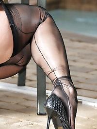 Cutie has stockings fetish