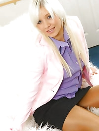 Pretty in pink & purple, Porscha puts our big white furry..