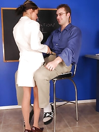 Naughty teacher is getting her pantyhose licked