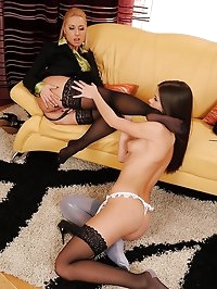 Foot fetish lesbian sex with maid