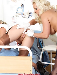Lana has a filthy lesbian nurse examine her tight little..