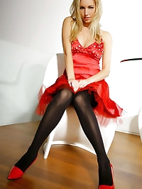 Beautiful lady in red Hayley-Marie in a sexy evening dress..