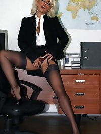 Busty blonde secretary Lana has some kinky alone time on..