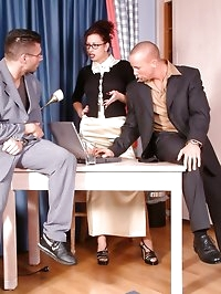 2 guys talking secretary into sex with them