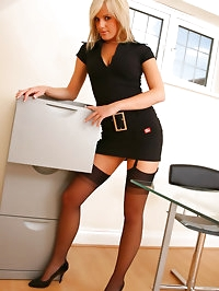 Delightful secretary slips out of the tight minidress and..