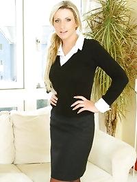 Alexandra looking ravishing in a sexy secretary uniform..