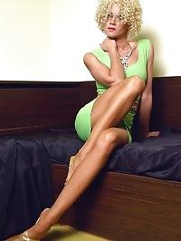 Leggy blonde mom in thinnest nylon pantyhose and high heels
