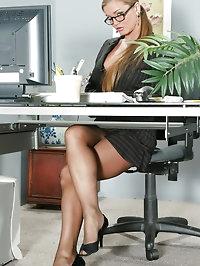 Pantyhosed Rita Faltoyano in Office Setting