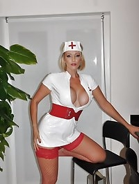 Lucy Zara dressed in a sexy Nurse uniform and fishnets..