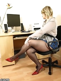 Office slut Daniella ripping her black seamed pantyhose