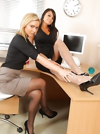 Bebe and Jenna J lock themselves in their office to strip..