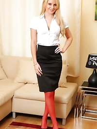 Naomi strip from black mini skirt