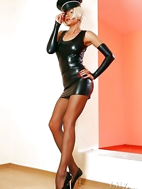 Sexy mistress Lily in hot latex clothes and cool vintage..