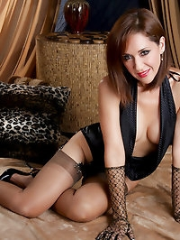 Beautiful brunette mom showing her new lingerie