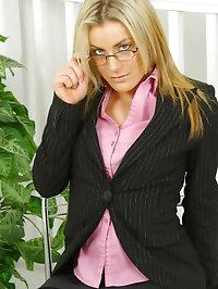 Sultry secretary Lillia in black stockings