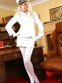 Cute Ashlea looks wondeful dressed in her white uniform..