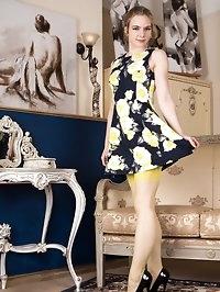 Alice is vibrant in unusual 60s yellow RHT nylons,..