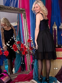 Platinum blonde granny Ellen B. is dressed to impress in..