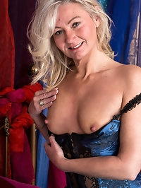 Platinum blonde granny Ellen B. is dressed to impress in..