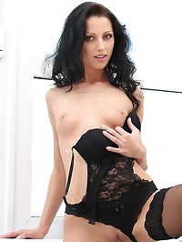 Lusty mom July Sun is decked out in black lace for her..