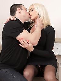 Busty blonde Carolina Carla takes her mans dick