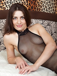 Gorgeous Egina in her fishnet body stocking