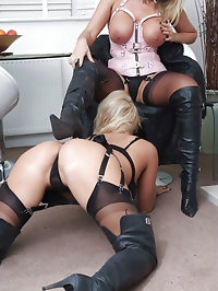 These leather boot licking sluts have a lot of fun together