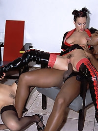Two amazing chicks in latex suits fuck interracial big cock