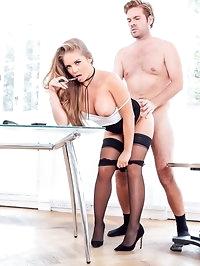 Alessandra Jane Blonde Secretary fucks boss on her first day