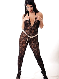 Rich British brunette in stockings fucks hot guy on the sofa