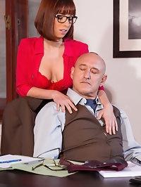 Sexy secretary Tina goes down on the Boss and fucks him too