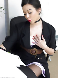 Secretary in stockings and sexy lingerie teases you as she..