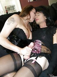 Gorgeous Nylon Jane fucking a dirty tranny slut with a dildo
