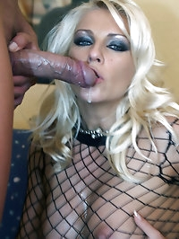 Wearing a fishnet suit Lana takes control of her man and..