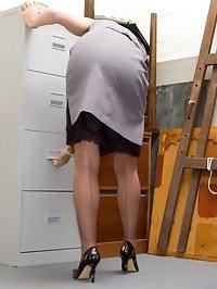 vintage lingerie under business suit