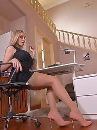 Nylon Driven Fantasies: Leggy Blonde Rides Dildo At Office