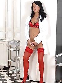 Nasty nurse doing cock-treatement