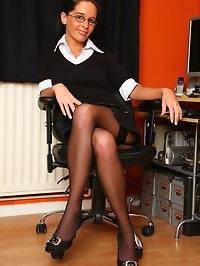 Secretary Emily strips in the office