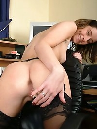 Slut secretary Gina playing with her dildo at work