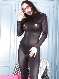 cum on my shiny spandex bodysuit