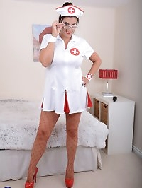 British big breasted Lulu dresses up as a nurse