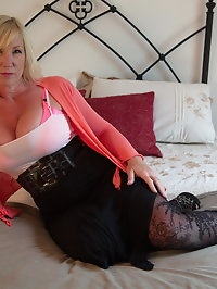Naughty big breasted Melody Charm pleasing herself at her..