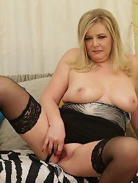 Naughty curvy housewife playing with herself