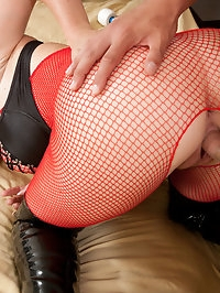 Sexy stocking clad babe gets fucked in the ass
